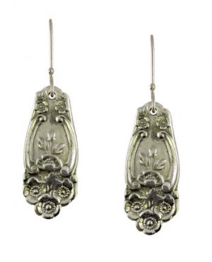 Antique Style Lady Helen Flower Pattern Spoon Drop Earrings