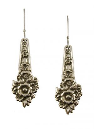 Antique Style Louise Flower Pattern Spoon Drop Earrings