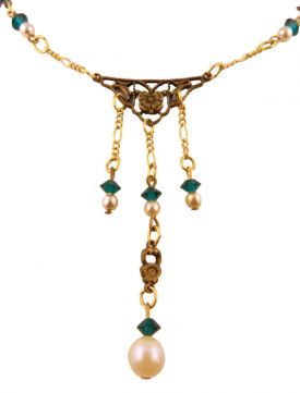 Vintage Style Faux Pearl & Emerald Crystal Drop Necklace