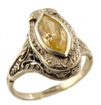 Antique Style Filigree 10x5mm Marquise Shaped Ring Setting