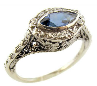 Antique Style Filigree 8x4mm Marquise Shaped Ring Setting