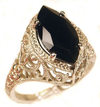 Antique Style Sterling Silver Filigree 14x6mm Marquise Shaped Ring Setting
