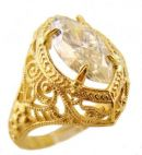 Antique Style Filigree 14x7mm Marquise Shaped Ring Setting