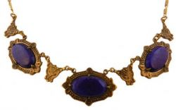 Art Deco Style Czech Lapis Lazuli Colored Glass Necklace