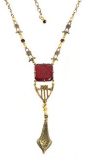 Victorian Style Ruby Red Pressed Glass Cameo Lavaliere Necklace
