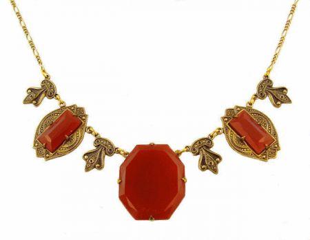 Art Deco Style Sardonyx Colored Czech Glass Necklace