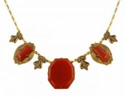 Art Deco Style Sardonyx Colored Czech Glass Necklace