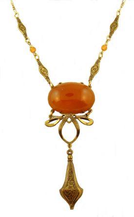 Victorian Style Sardonyx Colored Czech Glass Drop Necklace