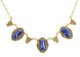 Art Deco Style Czech Lapis Lazuli Glass Necklace