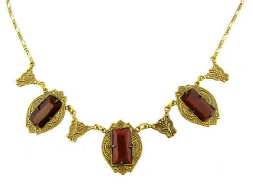 Art Deco Style Czech Carnelian Colored Glass Necklace