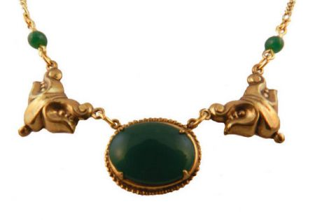 Victorian Style Green Onyx Colored Czech Glass Necklace