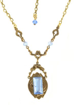 Art Deco Style Light Sapphire Colored Czech Glass Necklace