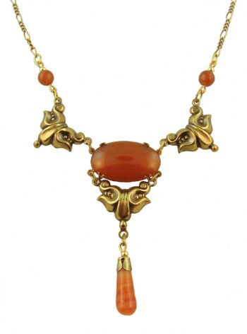 Victorian Style Sardonyx Colored Czech Glass Drop Necklace