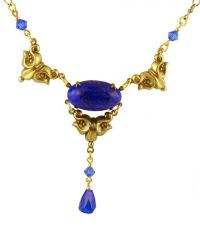 Victorian Style Lapis & Cobalt Blue Colored Czech Glass Drop Necklace