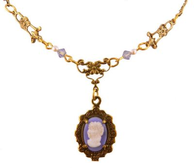 Antique Style Blue Cameo, Faux Pearl & Crystal Lavaliere Necklace