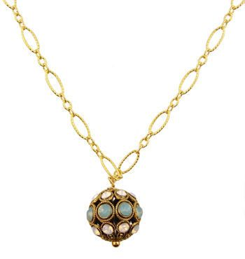 Vintage Style Encrusted Opalescent Crystal Ball on 14k Yellow Gold Filled Link Chain