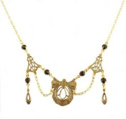 Victorian Style Filigree & Jet Crystal Festoon Necklace