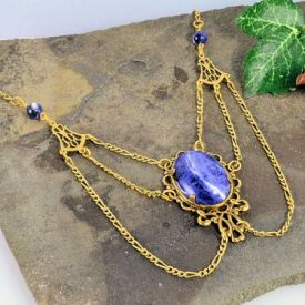 Victorian Style Sodalite & Filigree Festoon Necklace