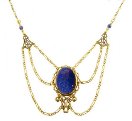 Victorian Style Czech Lapis Glass & Filigree Festoon Necklace