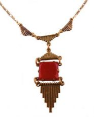 Art Deco Style Carnelian Colored Czech Glass Necklace