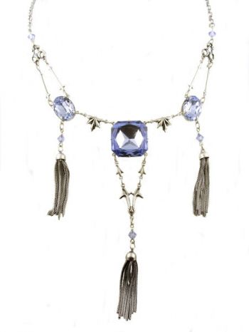 Art Deco Style Blue Crystal Tassel Necklace