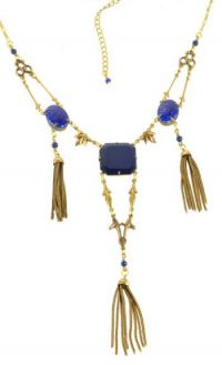 Art Deco Style Czech Lapis Glass Tassel Necklace