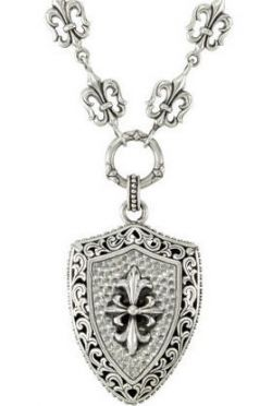 Victorian Style Sterling Silver Fleur de Lis & Shield Toggle Necklace