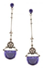 Art Deco Half Moon Shaped Sapphire Blue Glass Drop Earrings