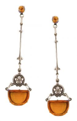 Art Deco Half Moon Shaped Topaz Colored Glass Drop Earrings