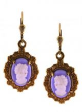 Antique Style Blue Glass Cameo Dangle Earrings