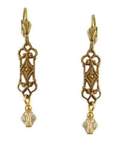 Vintage Style Filigree & Swarovski Crystal Drop Earrings