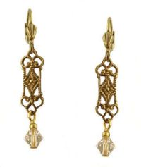 Vintage Style Filigree & Swarovski Crystal Drop Earrings