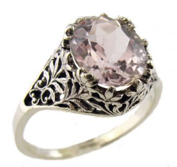 Antique Style Sterling Silver Filigree 11x9mm Oval Shaped Ring Setting