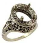 Antique Style Sterling Silver Filigree 10x8mm Oval Shaped Ring Setting