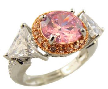 Sterling Silver 2.00ct Pink Cubic Zirconia Halo Ring w/ Trillions