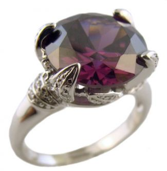 Sterling Silver 7.35ct Amethyst Colored Cubic Zirconia Ring