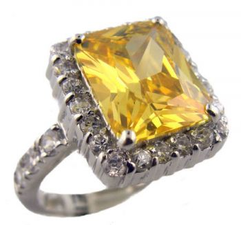 Sterling Silver 4.00ct Radiant Cut Canary Colored Cubic Zirconia Ring