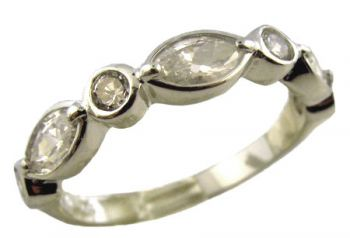 Sterling Silver Art Deco Style Marquise Shaped Cubic Zirconia Anniversary Band