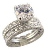 Sterling Silver Art Deco Style 2.75ct Cubic Zirconia Engagement Ring and Eternity Wedding Band Set