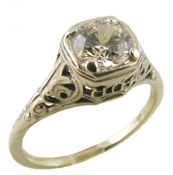 Antique Style Sterling Silver Filigree 6.0mm Round Shaped Ring Setting