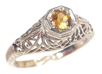 Antique Style Filigree 3.5 to 4.0mm Round Shaped Ring Setting