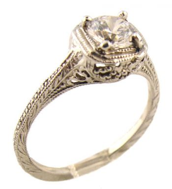 Antique Style Filigree 5mm Round Shaped Ring Setting
