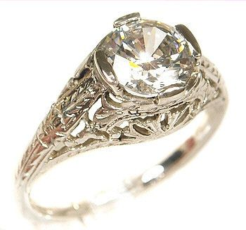 Antique Style Sterling Silver Filigree 7.0mm Round Shaped Ring Setting