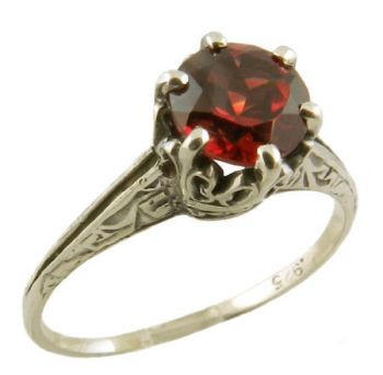 Antique Crown Style Sterling Silver Filigree 6.0mm Round Solitaire Ring Setting