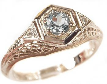 Art Deco Style Filigree 4.5mm Round Shaped Ring Setting