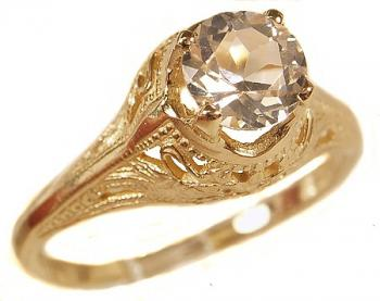 Antique Style Filigree 6.0mm Round Shaped Ring Setting