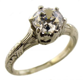 Antique Style Sterling Silver Filigree 6.0mm Round Shaped Crown Solitaire Ring Setting