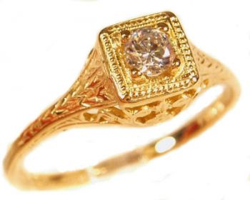 Antique Style Filigree 3.5mm Round Shaped Ring Setting