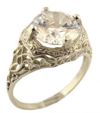 Antique Style Sterling Silver Filigree 9.5mm Round Shaped Ring Setting