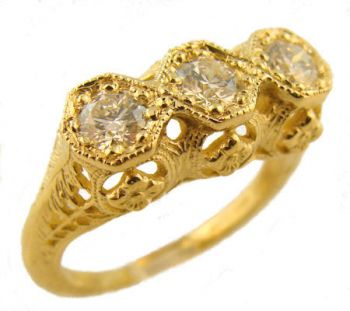 Antique Style Filigree 3) 4.0mm Round Shaped Ring Setting